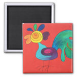 Rainbow Rooster Square Magnet