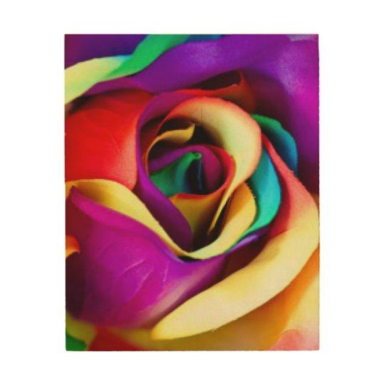 Rainbow Rose Botanical Wood Wall Art