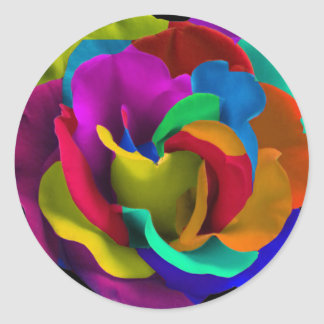 Rainbow rose colorful sticker