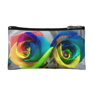 Rainbow rose cosmetics bag