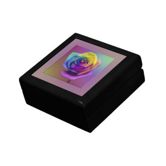 Rainbow Rose Flower Gift Box