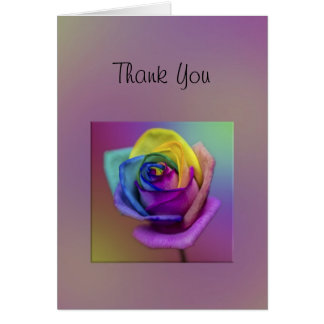 Rainbow Rose Flower Thank You Card