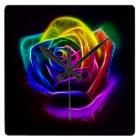 Rainbow Rose Fractal Square Wall Clock