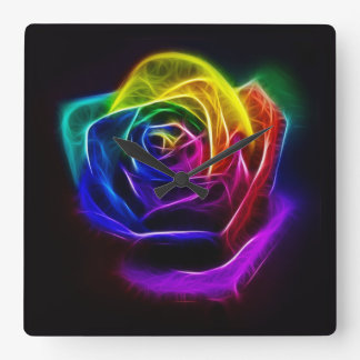 Rainbow Rose Fractal Square Wall Clock