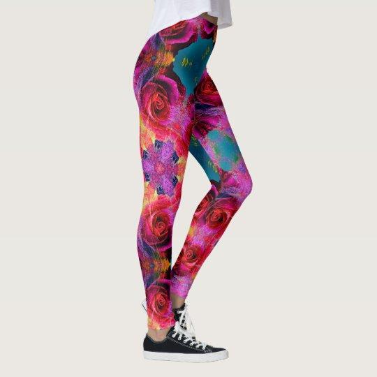 Rainbow Rose Kaleidoscope Leggings