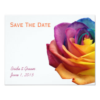 "Rainbow Rose Save The Date Card 4.25"" X 5.5"" Invitation Card"