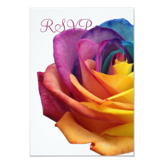 Rainbow Rose White RSVP Card