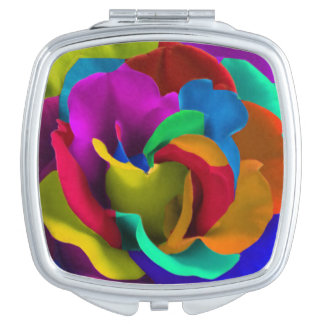 Rainbow roses flowers colorful hippie edition mirrors for makeup