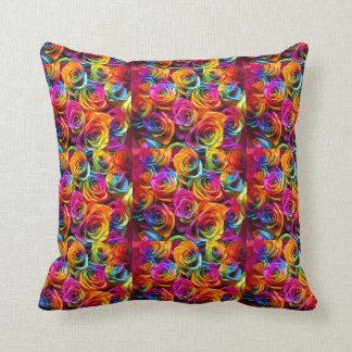 Rainbow roses pillow