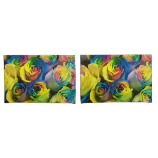 Rainbow Roses Up Close Picture Pillow Cases