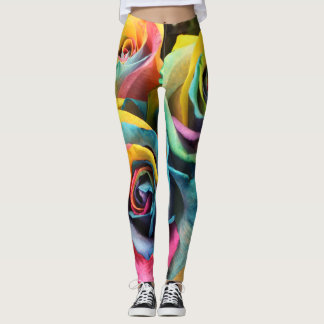 Rainbow Roses Yoga Running Exercise Leggings