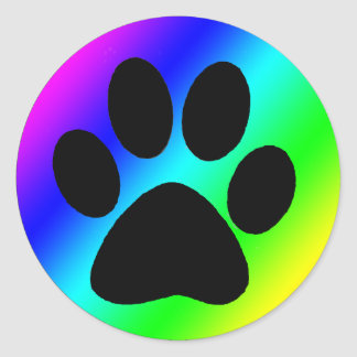 Rainbow Round Dog Paw.png Classic Round Sticker