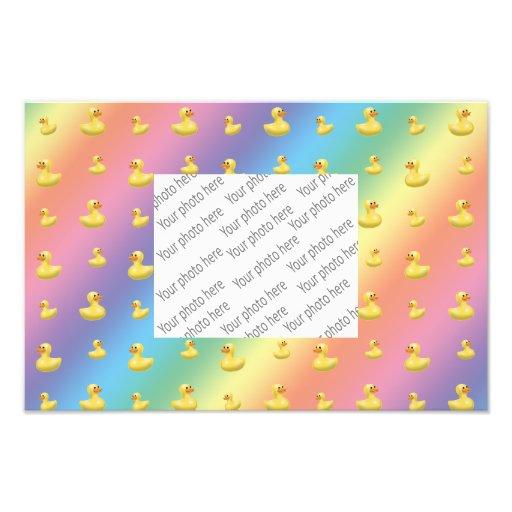 Rainbow rubber duck pattern art photo