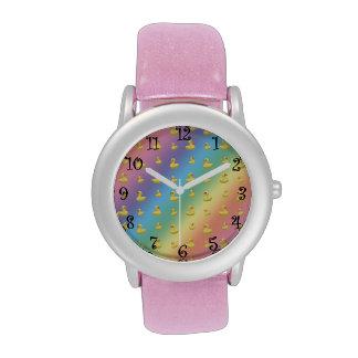 Rainbow rubber duck pattern watch