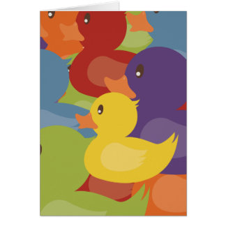 Rainbow   Rubber Ducks   overlapping design Card