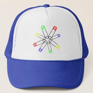 Rainbow Safety Pin Solidarity Yellow Blue Green Trucker Hat