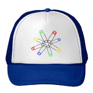 Rainbow Safety Pin Solidarity Yellow Blue Green Trucker Hat