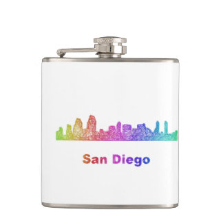 Rainbow San Diego skyline Hip Flask