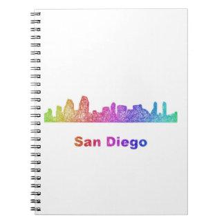 Rainbow San Diego skyline Spiral Note Book