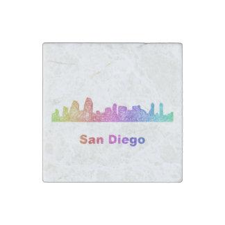 Rainbow San Diego skyline Stone Magnets