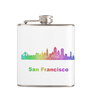 Rainbow San Francisco skyline Hip Flask