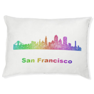 Rainbow San Francisco skyline Large Dog Bed