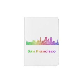 Rainbow San Francisco skyline Passport Holder
