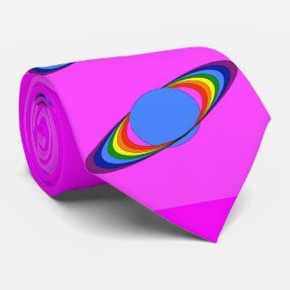 Rainbow Saturn Necktie for Astronomers, Magenta