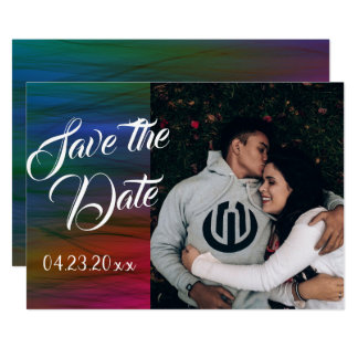 Rainbow Save the Date Colorful Vibrant Watercolor Card