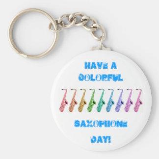 Rainbow Saxophone Keychain