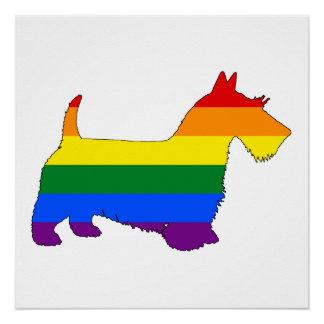 Rainbow Scottish Terrier Poster