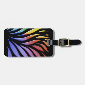 Rainbow Scribble Funky Black Luggage Tag