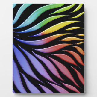 Rainbow Scribble Funky Black Plaque