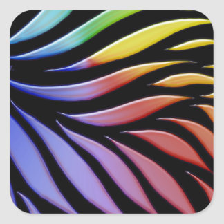 Rainbow Scribble Funky Black Square Sticker
