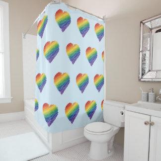 Rainbow scribble heart shower curtain