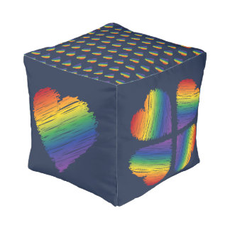 Rainbow scribble heart square pouf