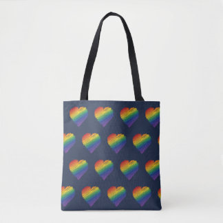 Rainbow scribble heart tote bag