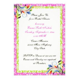 Rainbow scroll leaf damask wedding bridal shower personalized invitation