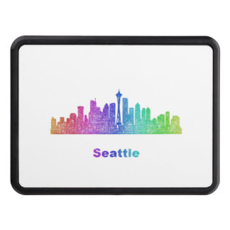 Rainbow Seattle skyline Hitch Covers