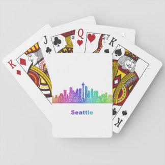 Rainbow Seattle skyline Poker Deck