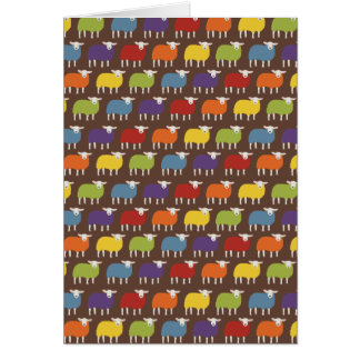 Rainbow | Sheep | All over Pattern on brown Card