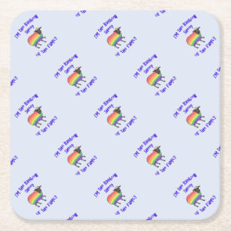 Rainbow Sheep of the Family Square Paper Coaster
