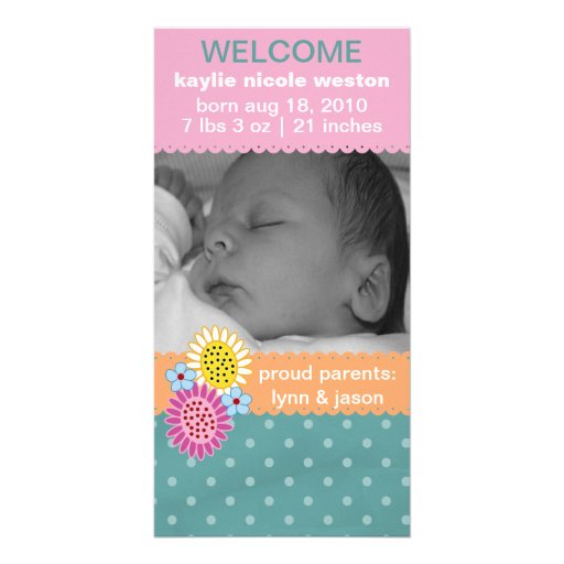 Rainbow Sherbert Birth Announcement Personalized Photo Card