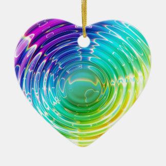 Rainbow Shockwave Ceramic Heart Ornament