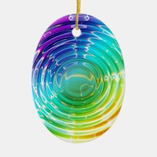 Rainbow Shockwave Ceramic Oval Ornament