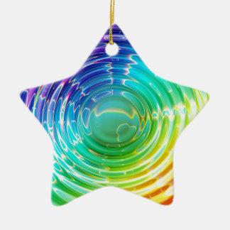 Rainbow Shockwave Ceramic Star Ornament