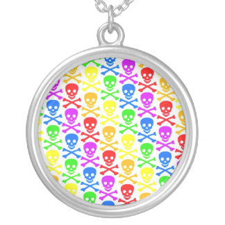 """Rainbow Skulls"" Pendant Necklace"