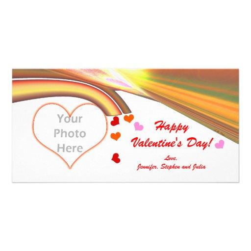 Rainbow Sky Valentine Hearts Customized Photo Card