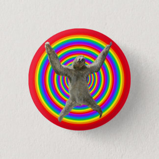 Rainbow Sloth 1 Inch Round Button