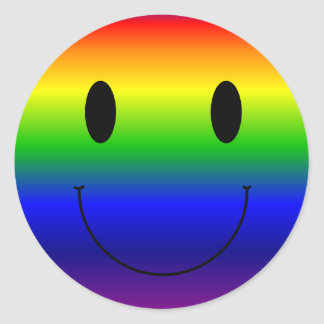 Rainbow Smiley Classic Round Sticker